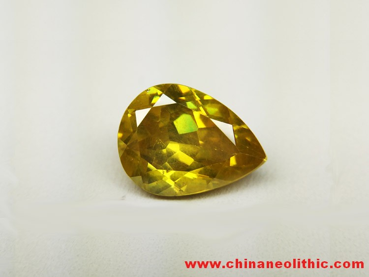 Yellow green Gemstone Pendant ring drops sphalerite faceted stone naked fire color seven color 3.9ct,Sphalerite