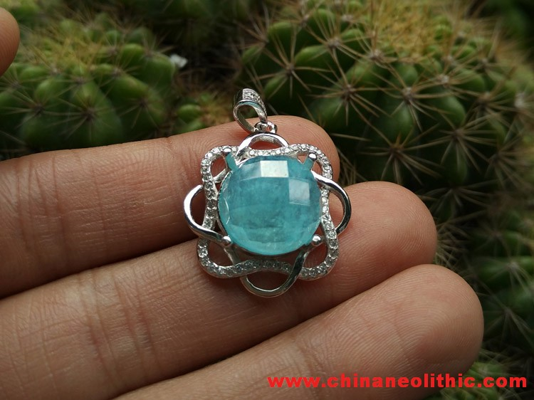 The sky blue ice galmei round Faceted Gemstone Pendant hanging frame,Hemimorphite