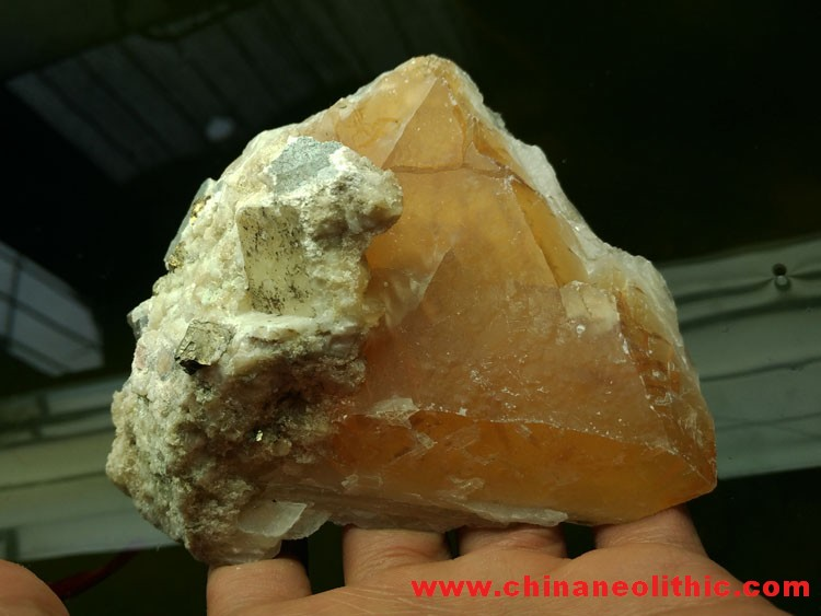 Triangular large crystal gold calcite and pyrite,Calcite,Pyrites