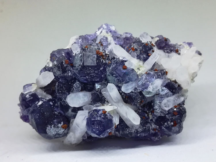 Blue purple fluorite and quartz and pyrite mineral crystals of the gem stone ore,Fluorite,Quartz,Pyrites
