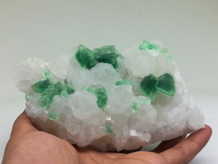 Green phantom in eight face of Fluorite and white crystal mineral crystal gem stone ore samples,Fluorite,Quartz