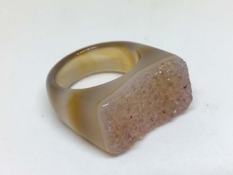 Super personality attractive natural agate stone crystal cave ring, gem mineral crystal ore,Agate,Quartz