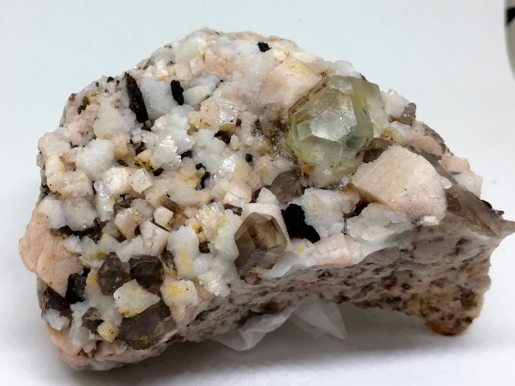 Eight face pale green and brown Smoky Quartz fluorite mineral crystal gem stone ore samples,Fluorite,Quartz
