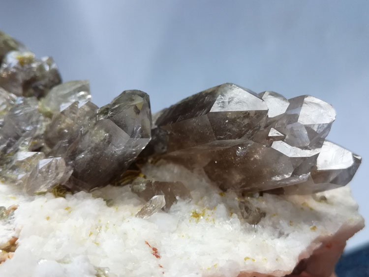 Garnet inclusion Multiple crystal head Smoky Quartz and mica paragenetic mineral specimens Crystal,Quartz,Mica,Garnet