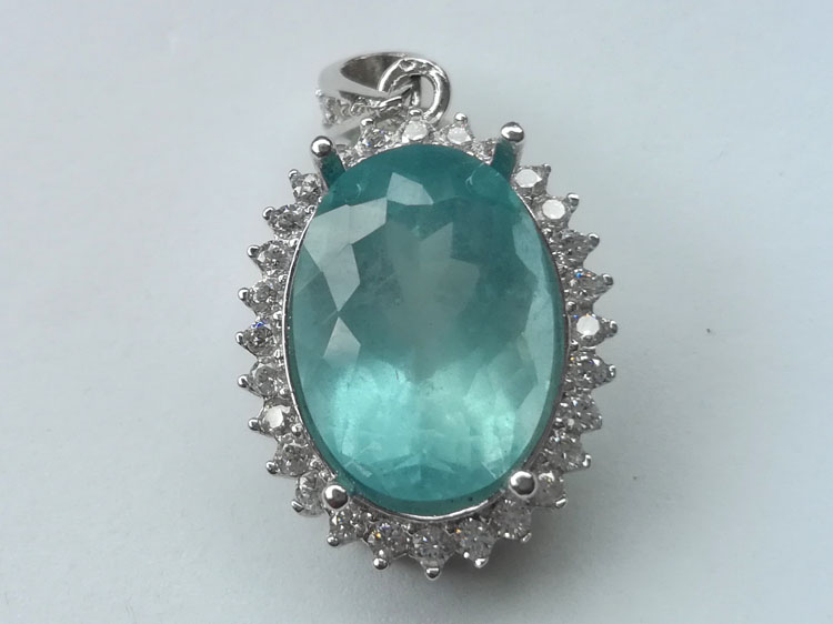 [natural] color super Blue Aquamarine facet 925 Silver Pendant Pendant Necklace Pendant Nec,Aquamarine