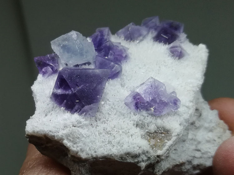fluorite has two kinds of colours and two kinds of crystal morphology mineral specimens at the same ,Fluorite,Calcite
