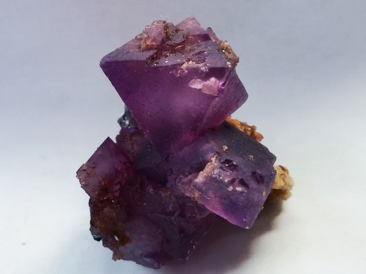 Octahedral Fluorite Crystal gems of dazzling purple-red mineral specimens from Inner Mongolia,Fluorite