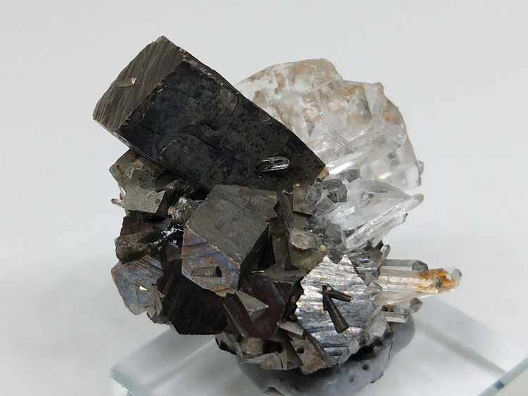 Columnar Arsenopyrite and Colourless Fluorite Crystal Marmatite Symbiotic Mineral Specimens Crystal ,Arsenopyrite,Fluorite
