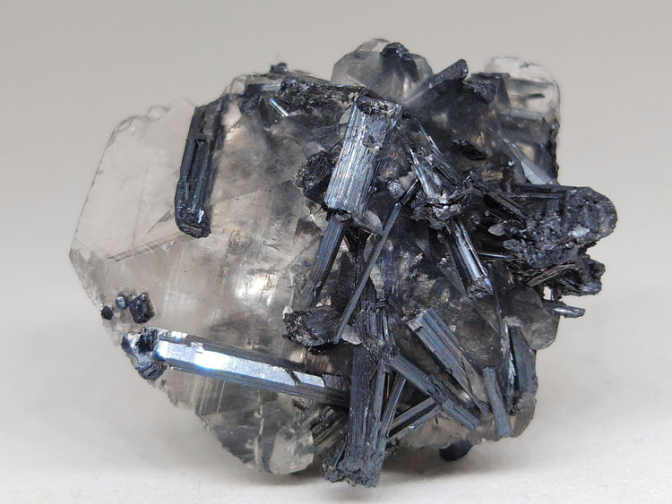 Classical Stibnite, Calcite symbiotic mineral assemblage mineral specimens Crystal Cluster gemstone ,Stibnite,Calcite